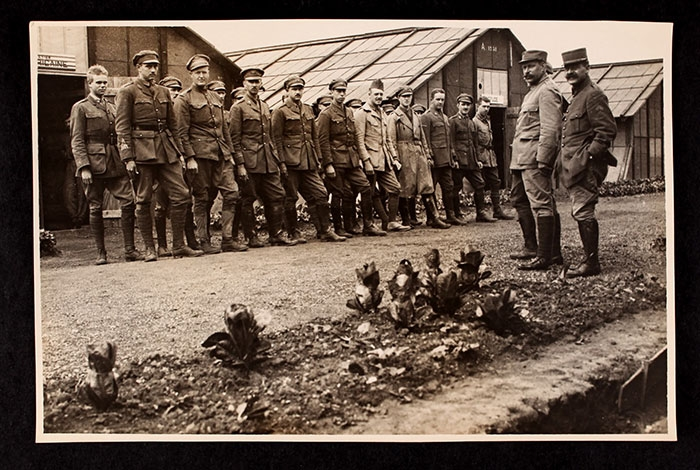 Men in line at the Officers' Training School at Meaux.