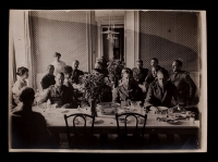 A. Piatt Andrew and AFS men in dining hall at 21 rue Raynouard