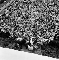 Aerial view of President John F. Kennedy greeting AFS students.