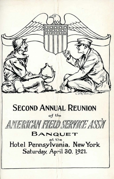 Program 2nd Annual Reunion Banquet AFS Association, April 30, 1921