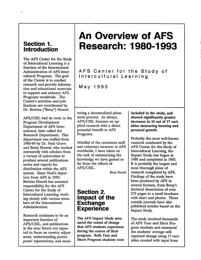 AFS Research Summary – 1980-1993