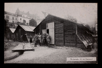 Drivers outside the barracks at 21 rue Raynouard (postcard)