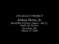 Arthur Howe, Jr. - Legacy Project Interview