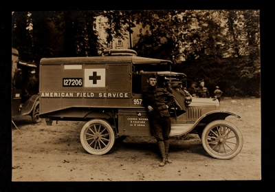 American Field Service Ambulance 957 with driver