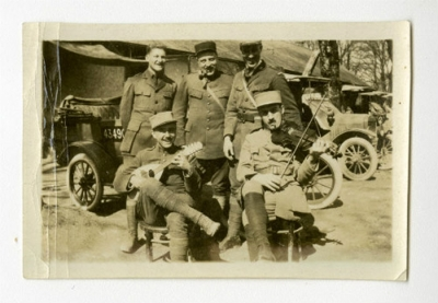 Arthur J. Putnam with friends and soldier musicians.