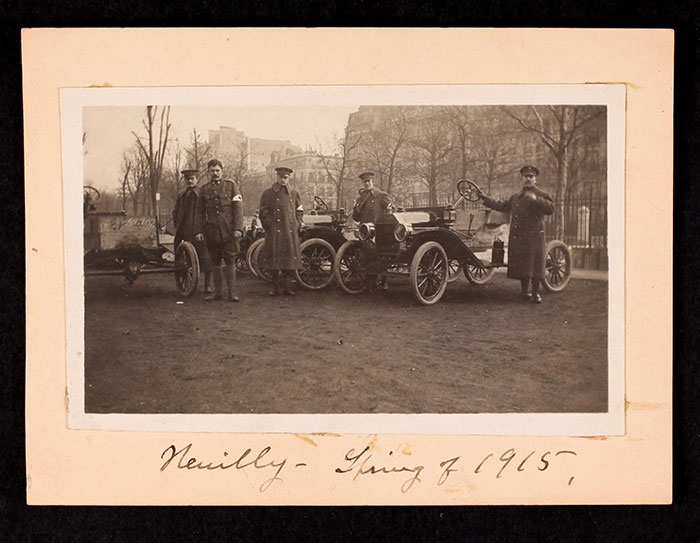 AFS Staff with cars in Neuilly, Spring of 1915