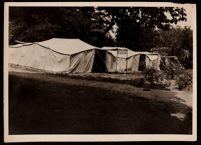 Three of the tents erected to help shelter the incoming flood of new men