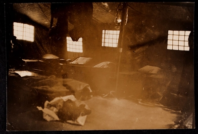 Interior view of a tent in the garden at 21 rue Raynouard